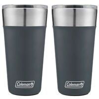 Coleman Brew Tumbler 20oz Slate Blue Insulated Stainless Steel Cup Camp (2-Pack)