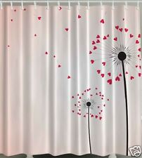 Dandelion Fabric SHOWER CURTAIN Hearts Floral Love Flowers Valentines Bath Decor