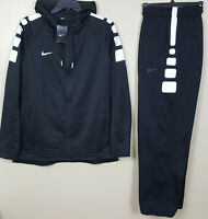 NIKE ELITE STRIPE BASKETBALL SUIT HOODIE + PANTS BLACK WHITE RARE NEW (XL / 2XL)