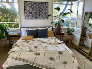 AZKA GREEN Boho Palm Trees Kantha Quilt - Default Title