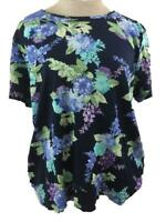 Croft Barrow classic tee T knit top Size 1X short sleeve blue purple floral