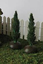 Miniature Fiber Optic Arborvitae Light Up Tree set/2 w timer Fairy Dollhouse