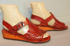 99d55198ac91 5.5 NOS Vtg 70s India HUARACHE Sandal Wood Wedge Heel Brown Bengalies Boho  Shoe
