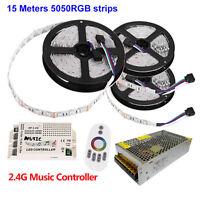 10M 15M Led Strip RGB 5050 String Light 12V+ Music Controller 2.4G Remote +Power