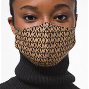 Michael Kors Logo Stretch Cotton Fashion Face Mask Black/Camel Size L/XLSEALED