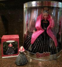 1998 Mattel Holiday Barbie Doll and coordinating Hallmark Ornament set - Nib