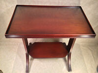 Antique Mahogany Side Table with Glass Top  Great Legs and Detailing
