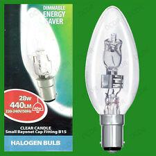 12 x 28w (= 40w) Transparente Regulable Halógeno Vela Bombilla de Bajo Consumo