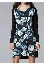 Simply Vera Wang Size XSmall Black Blue Floral Print Mix Media Drape Neck Dress