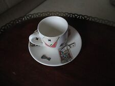 Gien Jeux French China Game Motif Cards  Espresso Cup & Saucer New