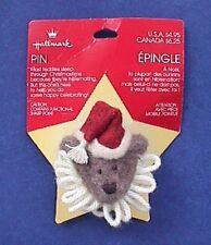 BUY1&GET1@50%~Hallmark PIN Christmas MOC BEAR CLOWN Santa Vtg Fabric Brooch