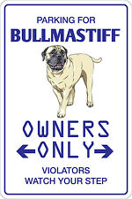 Metal Sign Parking For Bull mastiff 8� x 12� Aluminum Ns 108