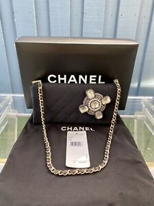 NIB Vintage Chanel Gripoix Flap Quilted Phone Holder Clutch Shoulder bag