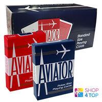 12 DECKS AVIATOR STANDARD INDEX PLAYING CARDS 6 RED 6 BLUE SEALED BOX CASE USPCC