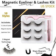 Impermeable Eyeliner magnético con 3 pares Pestañas Pinzas largas pestañas Kit Mix