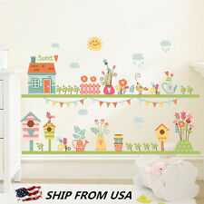 Sweet House Plant Flower Nature Birds Skiting Line Wall Decal Wall Sticker decor