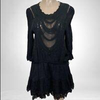 URBAN MANGO SIZE M BLACK CROCHET SMOCK DRESS BOHO CHIC