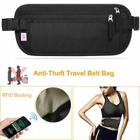 Waterproof Travel Money Belt Waist Bag Pack RFID Blocking Anti-Theft Waist Pouch