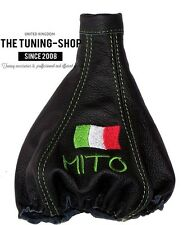 FITS ALFA ROMEO Mito 08-15 LEATHER GEAR BOOT COVER Embroidery Italian Flag Green