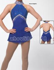 Women Ice Figure Skating Dress For Competition Blue Handmade Fashion Sleeveless