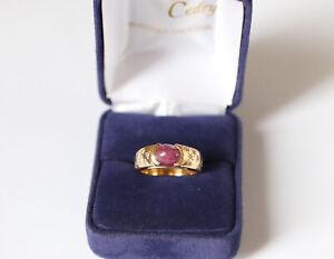 Bague or jaune 18K  Rubis Cabochon et diamants