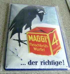 MAGGI BLECHSCHILD-20 x 30 cm-in OVP-RABE MAGGI WÜRFEL 4 PFENNIG-MAGGI-gewölbt-!!
