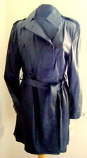 LADIES' DOUBLE BREASTED BLACK LEATHER COAT SIZE L #3191
