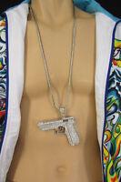 New Men Necklace Metal Chains Long Fashion Silver 3D Mobster Handgun Gun Pendant