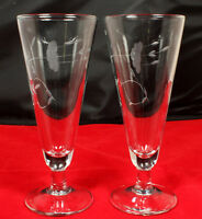 (2) Princess House HERITAGE CRYSTAL PILSNER Beer GLASSES #442 Discontinued MINT!