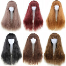 Women Girls Long Full Bangs Wig Wigs Curly Hair Heat Resistant Cosplay Party