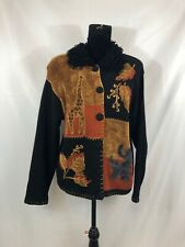 Victoria Harbour Womens Size L Black Animals Long Sleeve Button Up Sweater