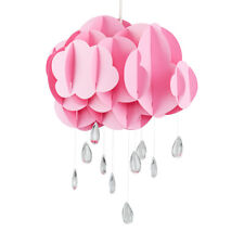 Pendant Ceiling Shade LED Bulb Easy Fit Kids Pink Coloured Cloud Jewel Raindrop