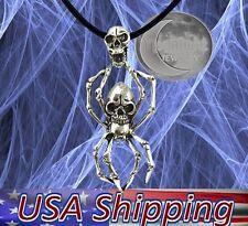 New Black Widow Spider Scull Gothic Biker Silver Metal Pendant Necklace