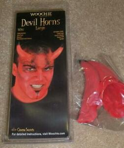 LARGE RED LATEX HORNS WITH BLACK TIP DEVIL DEMON COSTUME MAKEUP CSWO112