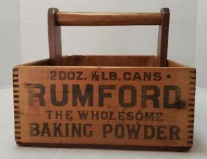 Vintage Rumford Baking Powder Wooden Box w/handle 2 Dozen 1/2lb Cans 1920's
