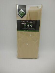 "Mainstream International Teflon Coated Fabric Tablecloth NIP 60"" x 120"" Gold"