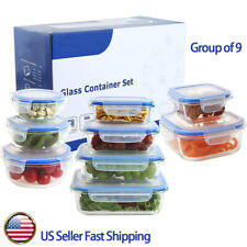 18 Piece Glass Food Storage Lunch Bowls Airtight Containers Set - Snap Lock Lids