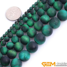 """Frosted Green Tiger Eye Gemstone Round Spacer Beads For Jewelry Making 15""""DIY"""
