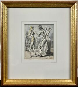 1953 Reginald Marsh Watercolor Partial Nude Figures on Beach Coney Island SIGNED