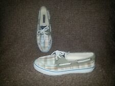 SPERRY TOP SIDER-Beige & Teal Plaid Boat Shoe-Cotton/Canvas-7.5M-Near Mint