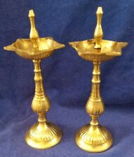 2 DIYA OIL LAMP BURNERS POOJA Brass DIWALI PUJA Religious Home Décor JS58