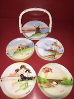 Vintage Lenwile China Ardalt Occupied Japan Hand Painted 5 Piece Coaster Signed