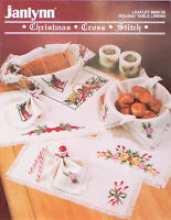 Janlynn Cross Stitch Pattern Christmas Holiday Table Linens Vintage 1990 #900-26
