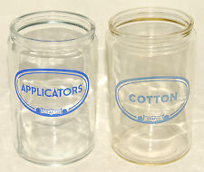 GRAFCO - 2 Vintage DOCTOR'S OFFICE GLASS JARS - COTTON & APPLICATORS Canisters