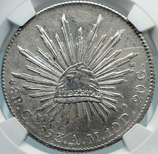 1893 CN AM MEXICO BIG Silver 8 Reales Antique Mexican Coin Eagle NGC MS i81886