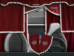 Volvo VNL VNM Curtains Full Set Red with white pom poms 7 pieces