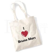 'I love (Heart) Bruno Mars' Cotton Canvas Reusable Shopping Tote Bag
