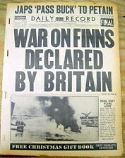 1941 Ww Ii headline display newspaper Great Britain Declares War on Finland