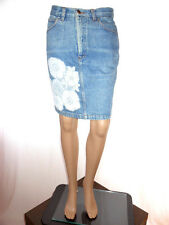 Womens Vtg 80s STEFANEL Italy Hand Custom Lace Crochet Jeans Skirt sz M AG86