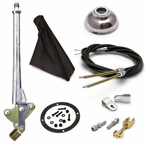 16 Trans Mnt E-Brake HandleGray Boot, Cap, Blk Ring, Cable Kit, GM Clevis